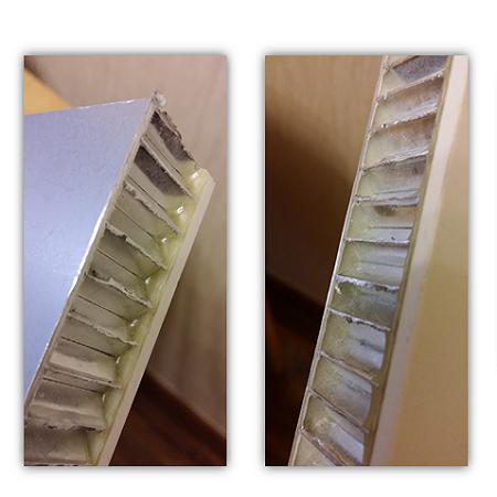 Aluminium honeycomb Panels quality comparison - traditional epoxy (left) vs thermal adhesive film (right)