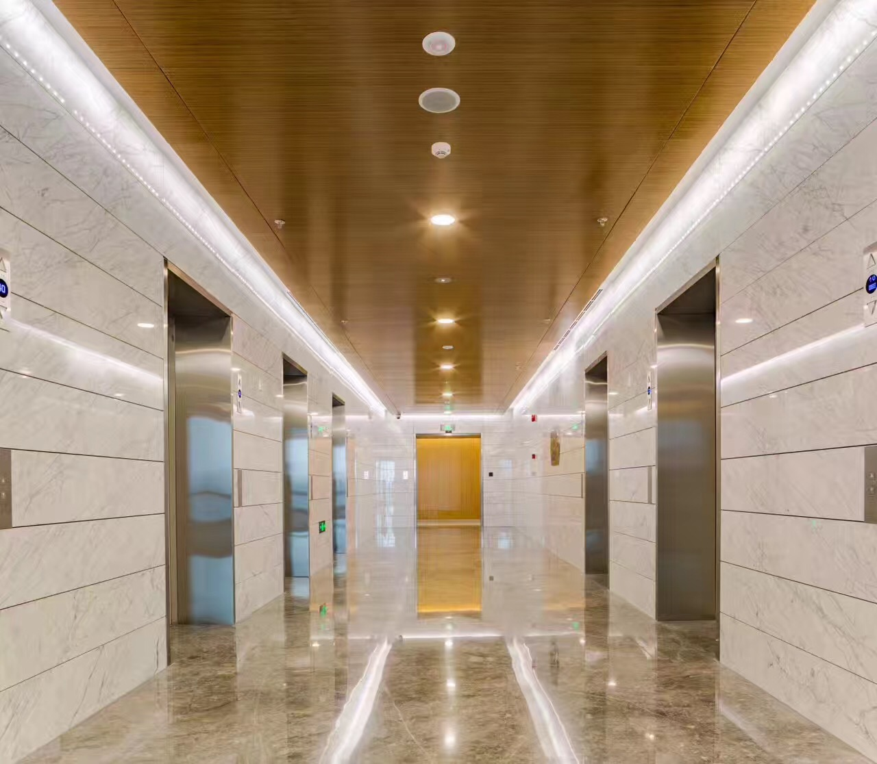 Chongqin Rural & Commercial Bank elevator foyer with interior stone honeycomb cladding