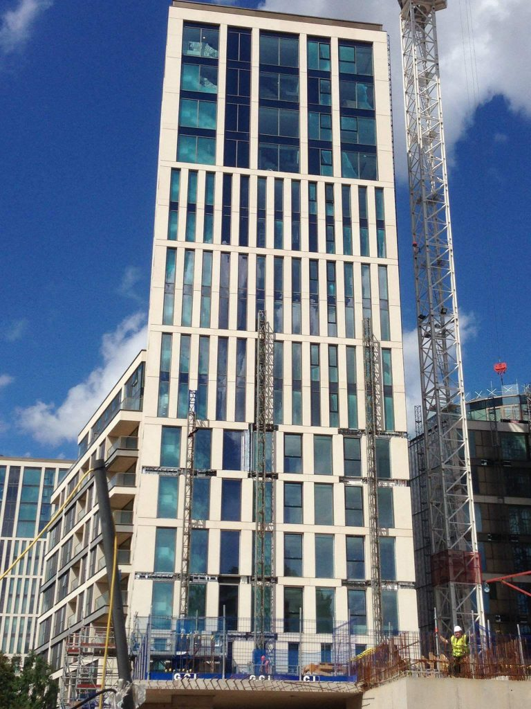 HyCOMB's stone honeycomb panels applied as exterior cladding panels at Kensington Row, London