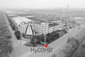 HyCOMB Panels manufacturing & testing facilities in black and white with logo