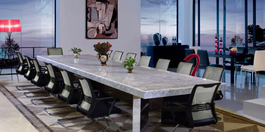 Lightweight Stone Honeycomb Tabletops in a conference setting