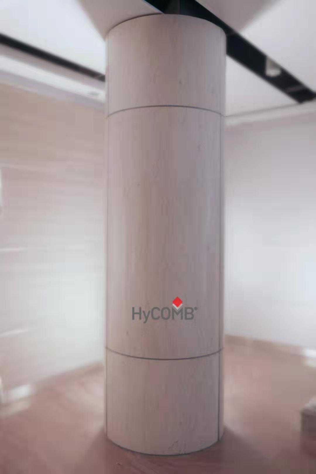 HyCOMB's curved stone honeycomb panels applied for a structural column column
