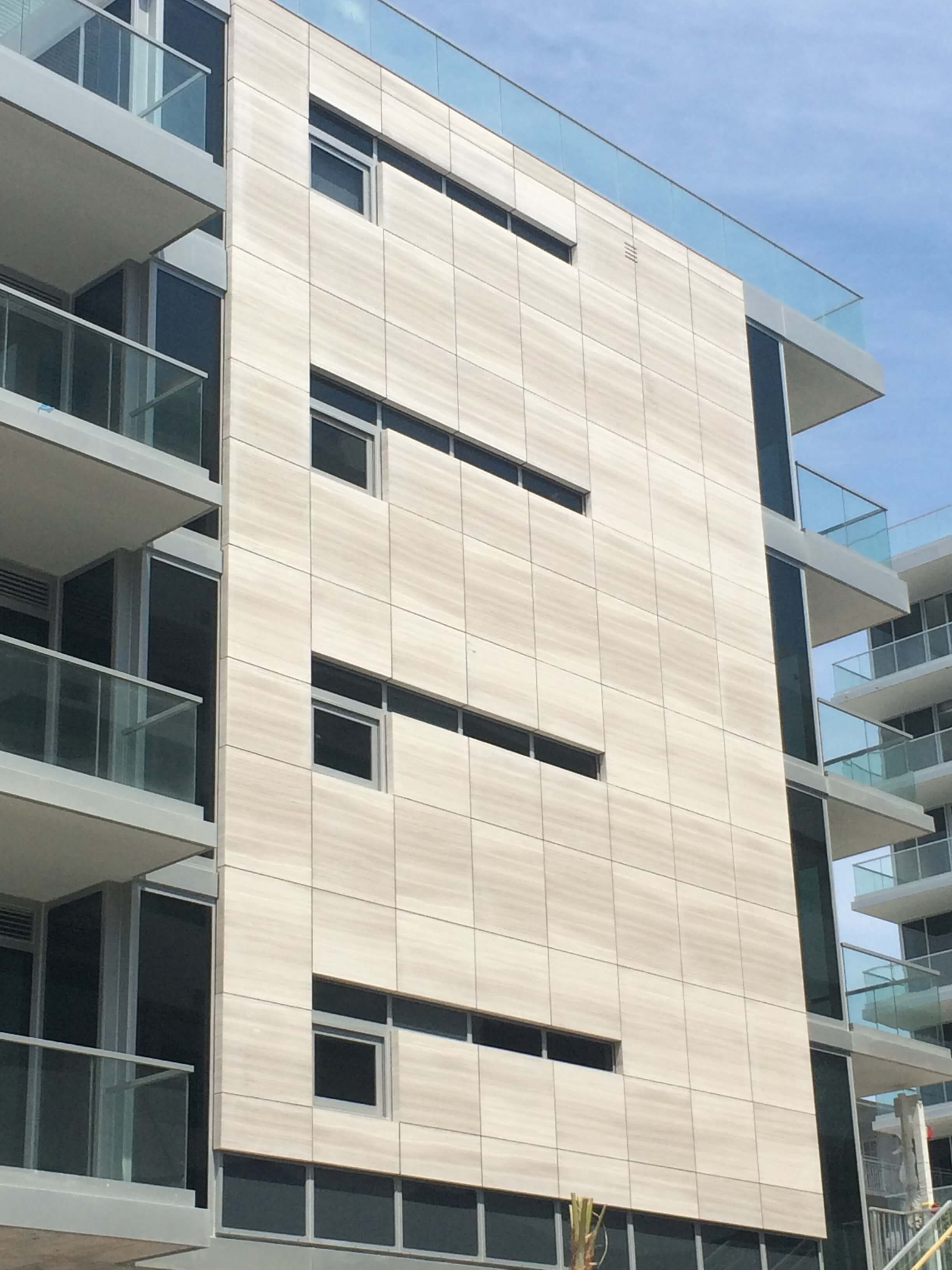 HyCOMB's Marble Honeycomb Panels installed as external cladding at 321 Ocean Drive, Miami