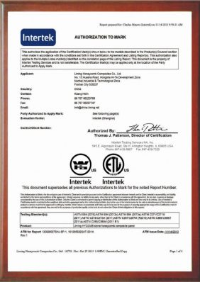 Intertek Warnock-Hersey (WH) certificate - HyCOMB Panels