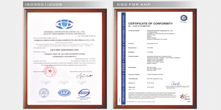 HyCOMB Panels accreditations including Certificate of Conformity (COC) from TUV SUD