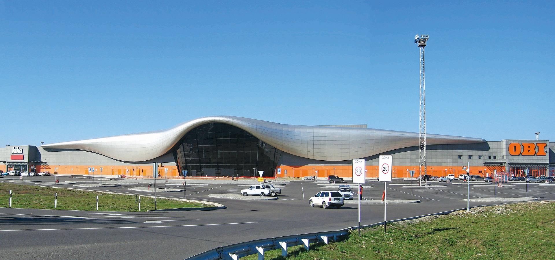 Landscape view of Oz Mall across the main car park