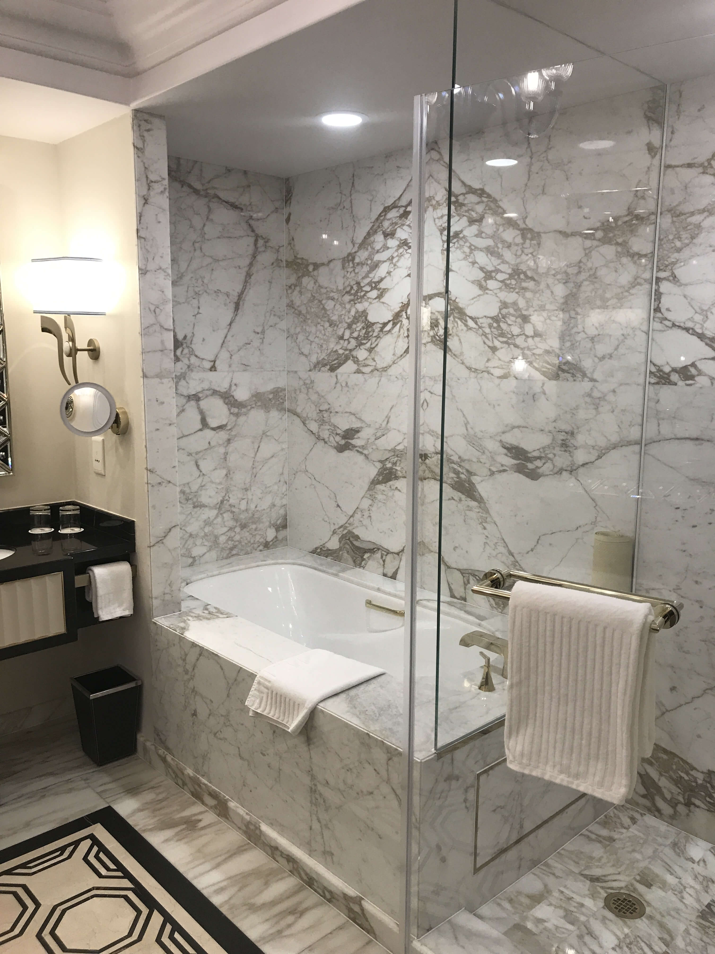 HyCOMB's stone honeycomb panels used as interior bathroom wall panelling at the Venetian Macao Hotel & Casino