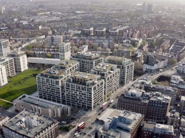 An aerial view of Kensington Row, London, featuring HyCOMB's stone honeycomb panels