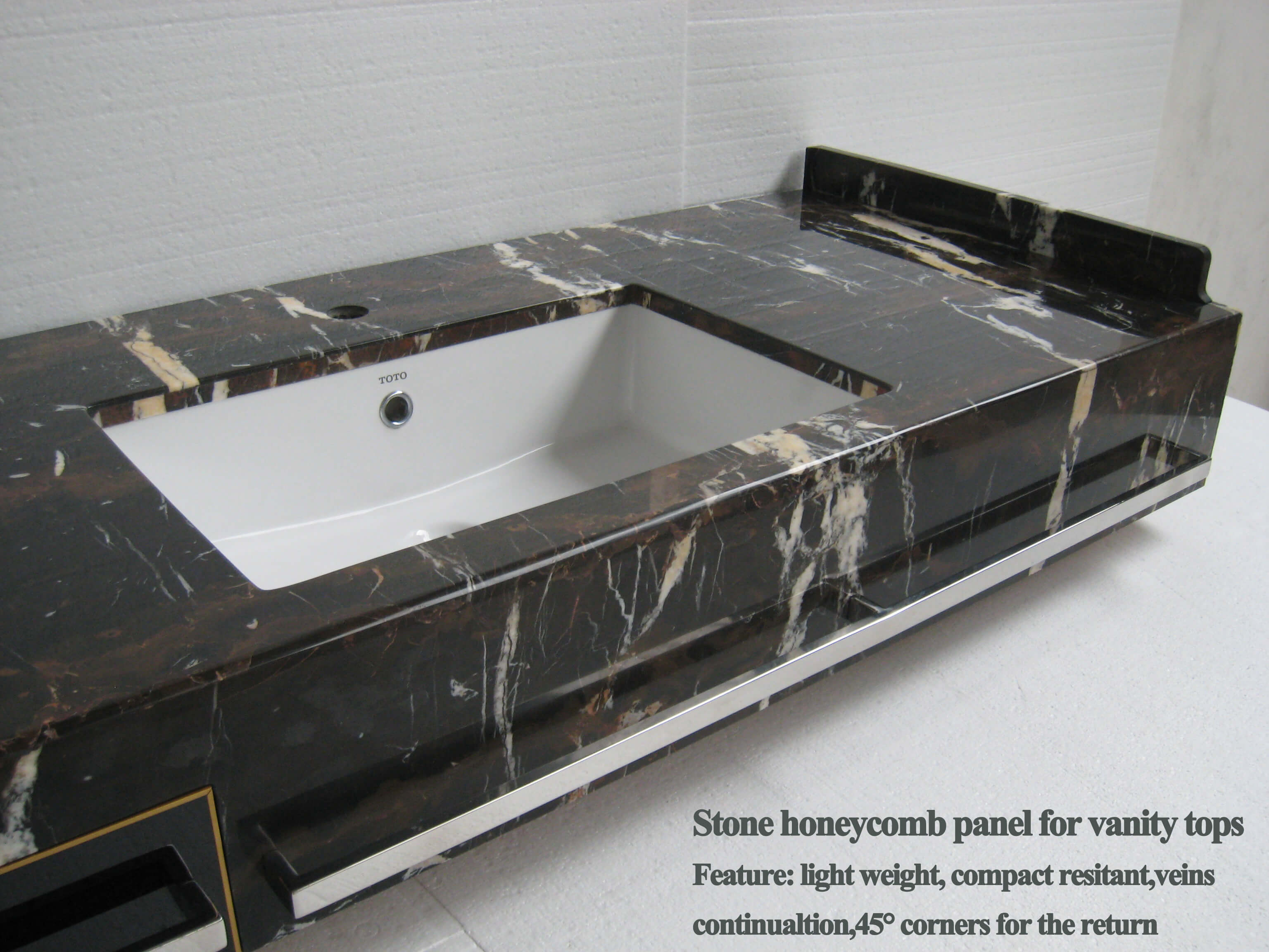 HyCOMB's bespoke vanity tops & wash basins, produced from stone honeycomb panels